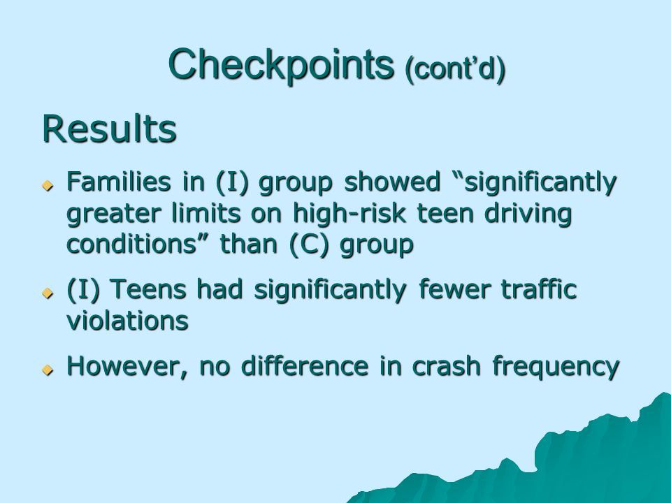 Checkpoints (contd) Results Families in (I) group showed significantly greater limits on high-risk teen driving conditions than (C) group Families in (I) group showed significantly greater limits on high-risk teen driving conditions than (C) group (I) Teens had significantly fewer traffic violations (I) Teens had significantly fewer traffic violations However, no difference in crash frequency However, no difference in crash frequency