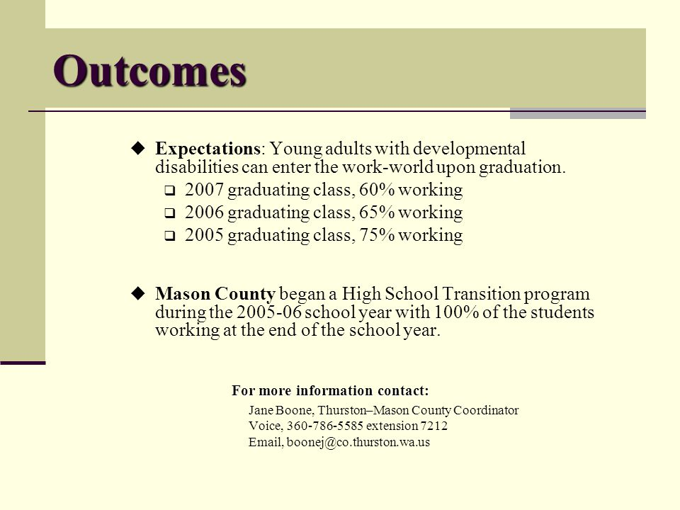 Outcomes Expectations: Young adults with developmental disabilities can enter the work-world upon graduation.