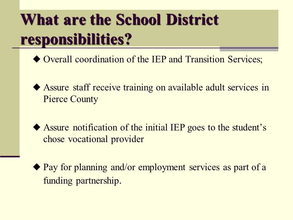 What are the School District responsibilities.