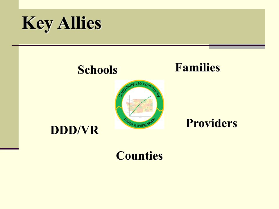 Key Allies Schools Families DDD/VR Counties Providers