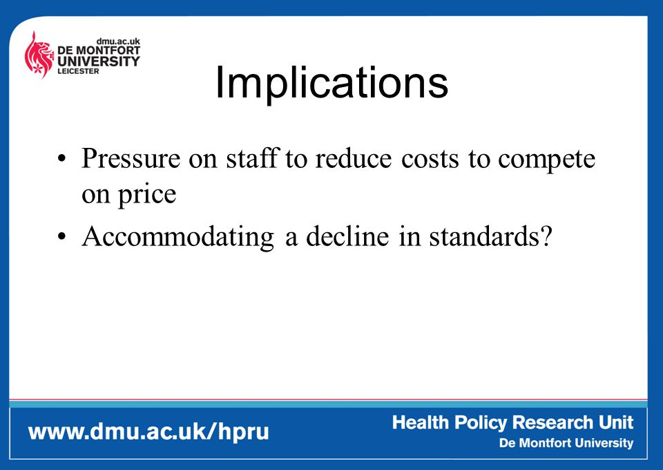 Implications Pressure on staff to reduce costs to compete on price Accommodating a decline in standards