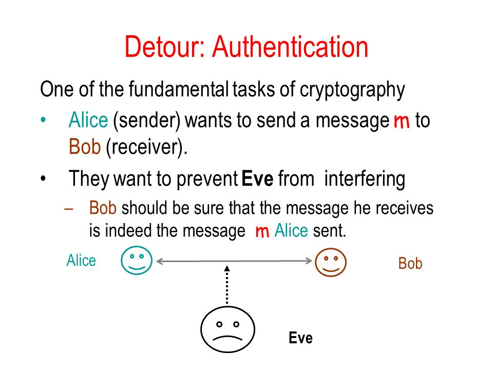 Detour: Authentication One of the fundamental tasks of cryptography Alice (sender) wants to send a message m to Bob (receiver).