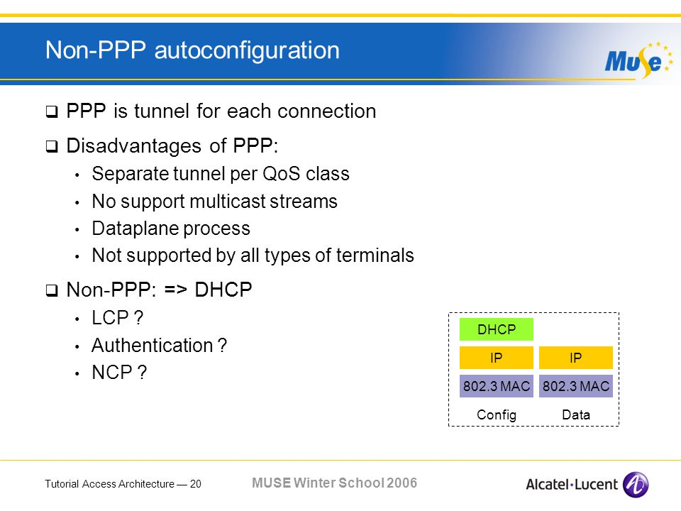 Tutorial Access Architecture 20 MUSE Winter School 2006 Non-PPP autoconfiguration PPP is tunnel for each connection Disadvantages of PPP: Separate tunnel per QoS class No support multicast streams Dataplane process Not supported by all types of terminals Non-PPP: => DHCP LCP .