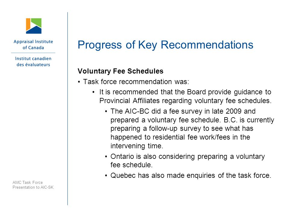 Progress of Key Recommendations Voluntary Fee Schedules Task force recommendation was: It is recommended that the Board provide guidance to Provincial Affiliates regarding voluntary fee schedules.