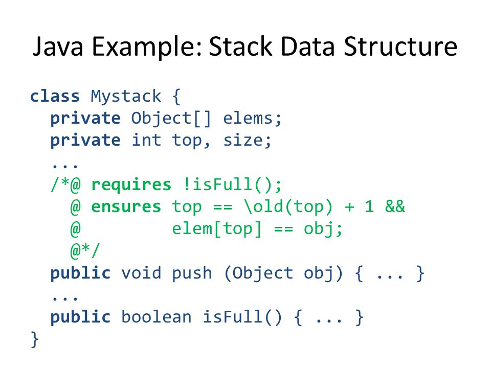 class Mystack { private Object[] elems; private int top, size;...