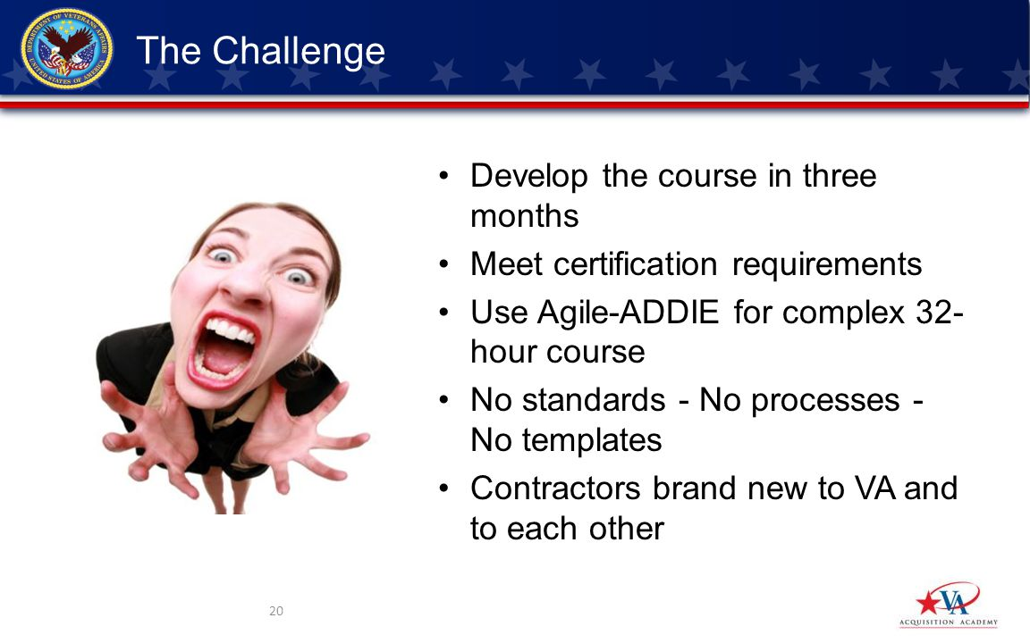 Develop the course in three months Meet certification requirements Use Agile-ADDIE for complex 32- hour course No standards - No processes - No templates Contractors brand new to VA and to each other 20 The Challenge