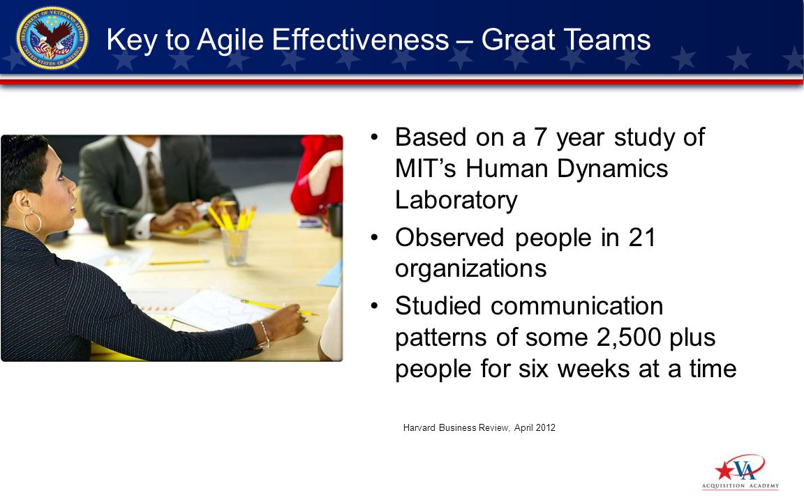 Based on a 7 year study of MITs Human Dynamics Laboratory Observed people in 21 organizations Studied communication patterns of some 2,500 plus people for six weeks at a time Key to Agile Effectiveness – Great Teams Harvard Business Review, April 2012