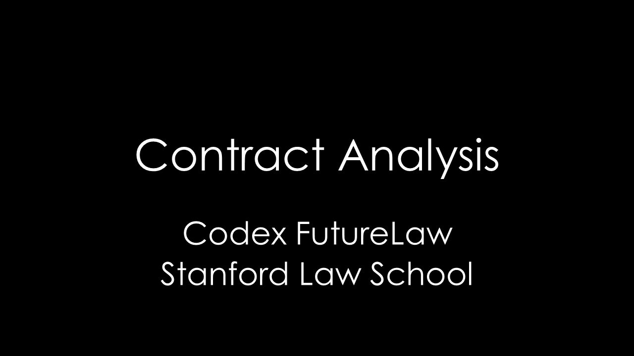 Contract Analysis Codex FutureLaw Stanford Law School