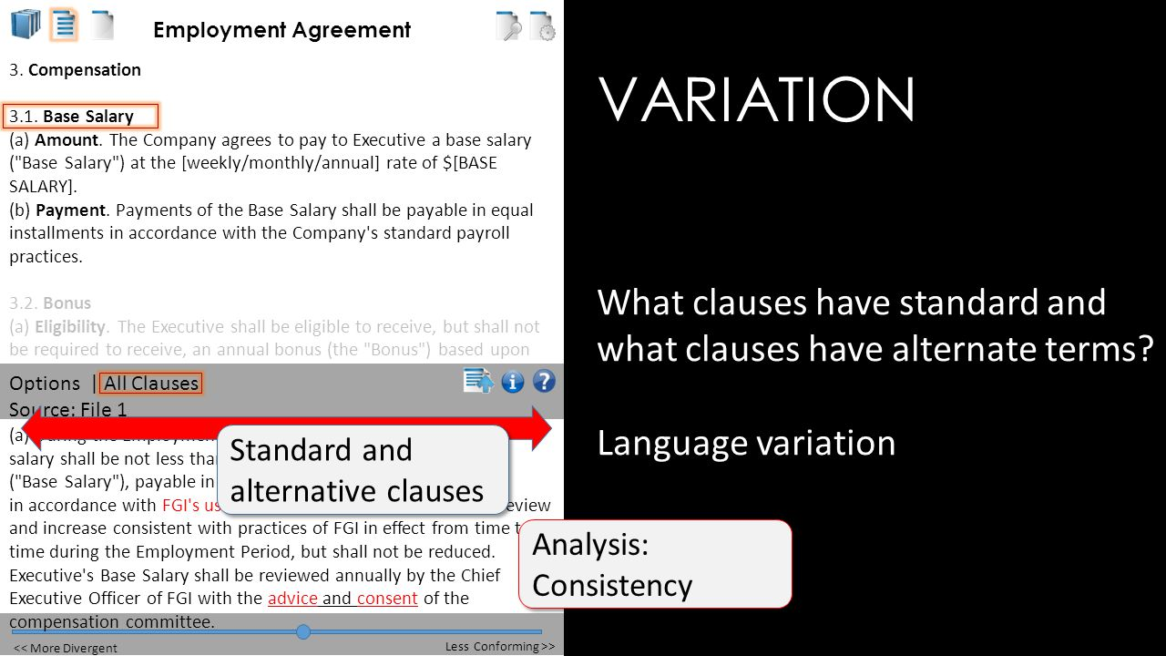 VARIATION What clauses have standard and what clauses have alternate terms.