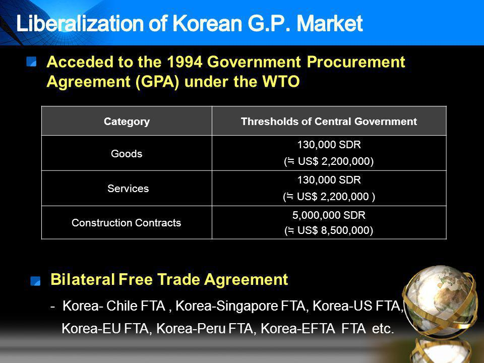 Acceded to the 1994 Government Procurement Agreement (GPA) under the WTO Bilateral Free Trade Agreement - Korea- Chile FTA, Korea-Singapore FTA, Korea-US FTA, Korea-EU FTA, Korea-Peru FTA, Korea-EFTA FTA etc.