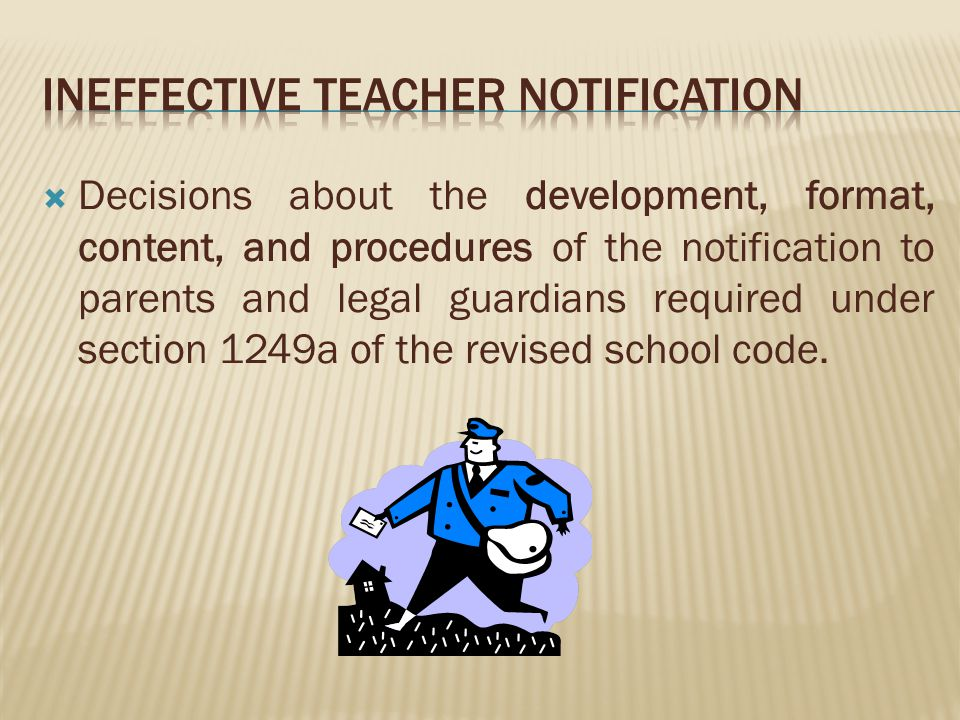 Decisions about the development, format, content, and procedures of the notification to parents and legal guardians required under section 1249a of the revised school code.