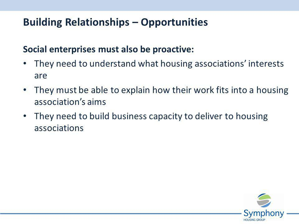 Social enterprises must also be proactive: They need to understand what housing associations interests are They must be able to explain how their work fits into a housing associations aims They need to build business capacity to deliver to housing associations Building Relationships – Opportunities