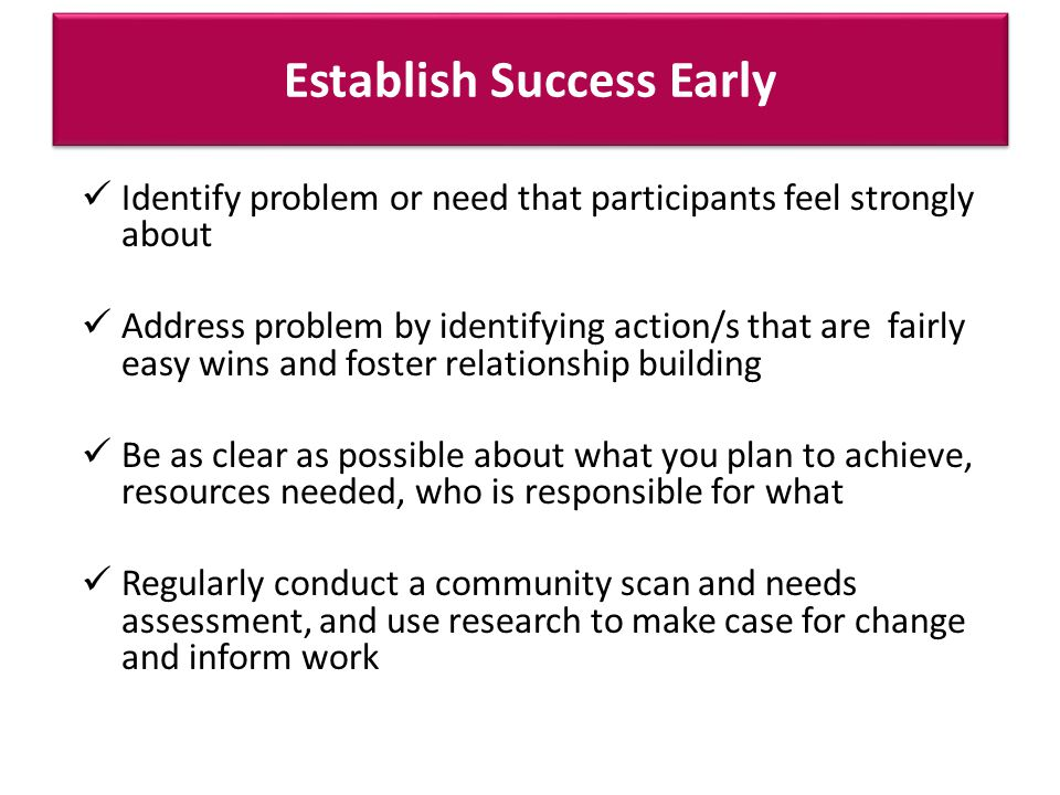 Establish Success Early Identify problem or need that participants feel strongly about Address problem by identifying action/s that are fairly easy wins and foster relationship building Be as clear as possible about what you plan to achieve, resources needed, who is responsible for what Regularly conduct a community scan and needs assessment, and use research to make case for change and inform work