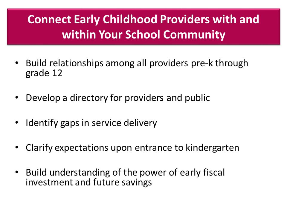 Connect Early Childhood Providers with and within Your School Community Build relationships among all providers pre-k through grade 12 Develop a directory for providers and public Identify gaps in service delivery Clarify expectations upon entrance to kindergarten Build understanding of the power of early fiscal investment and future savings
