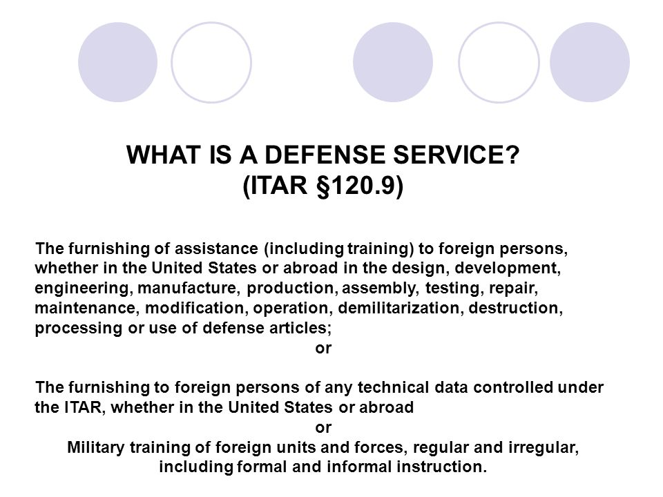 WHAT IS A DEFENSE SERVICE.