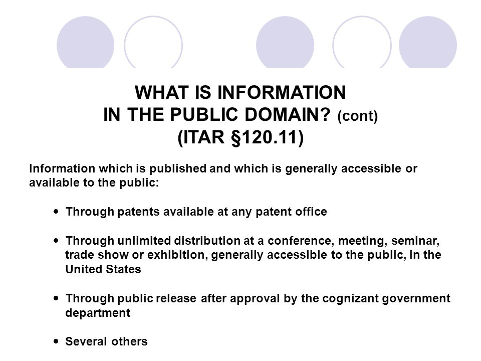 WHAT IS INFORMATION IN THE PUBLIC DOMAIN.