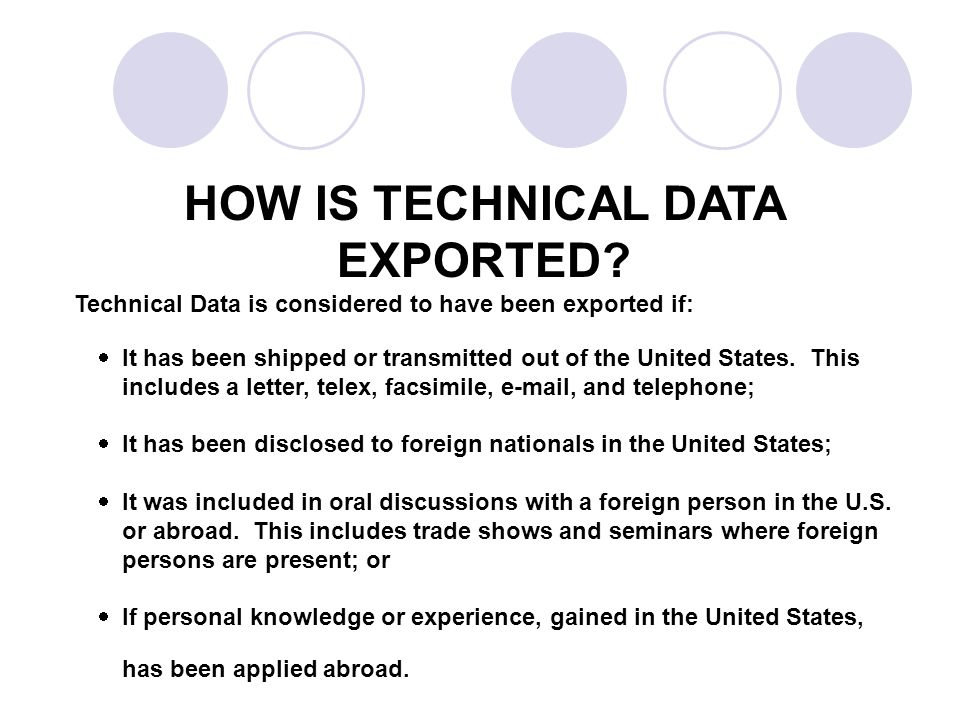 HOW IS TECHNICAL DATA EXPORTED.