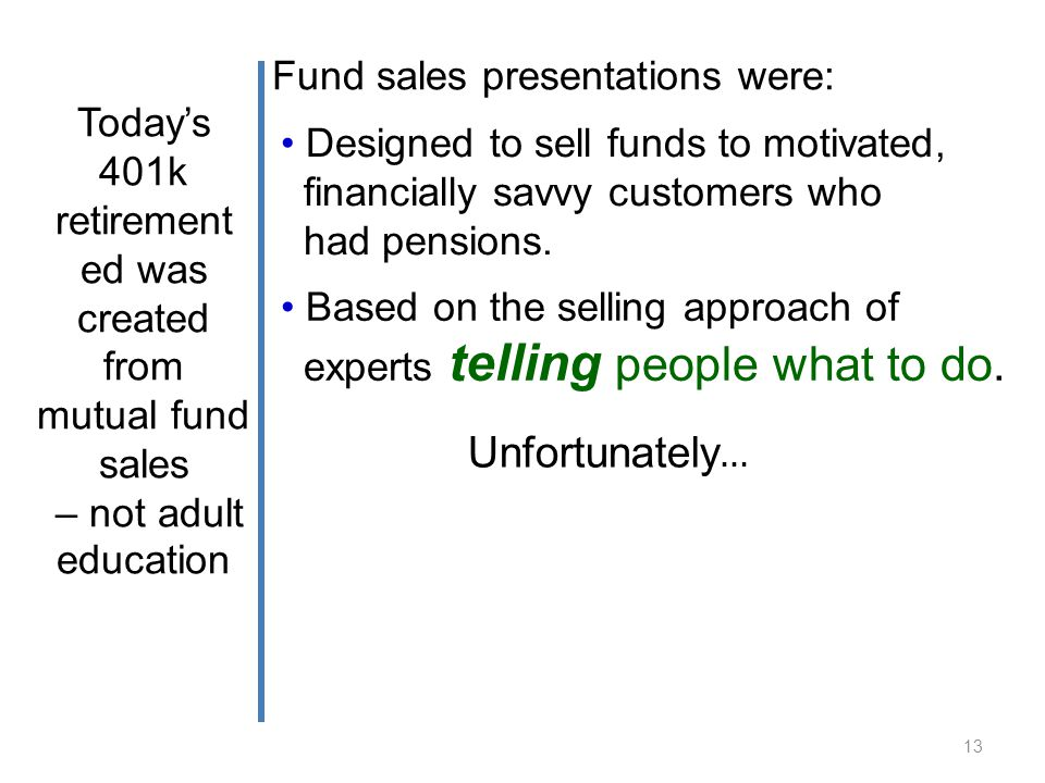 Fund sales presentations were: Unfortunately … 13 Based on the selling approach of experts telling people what to do.