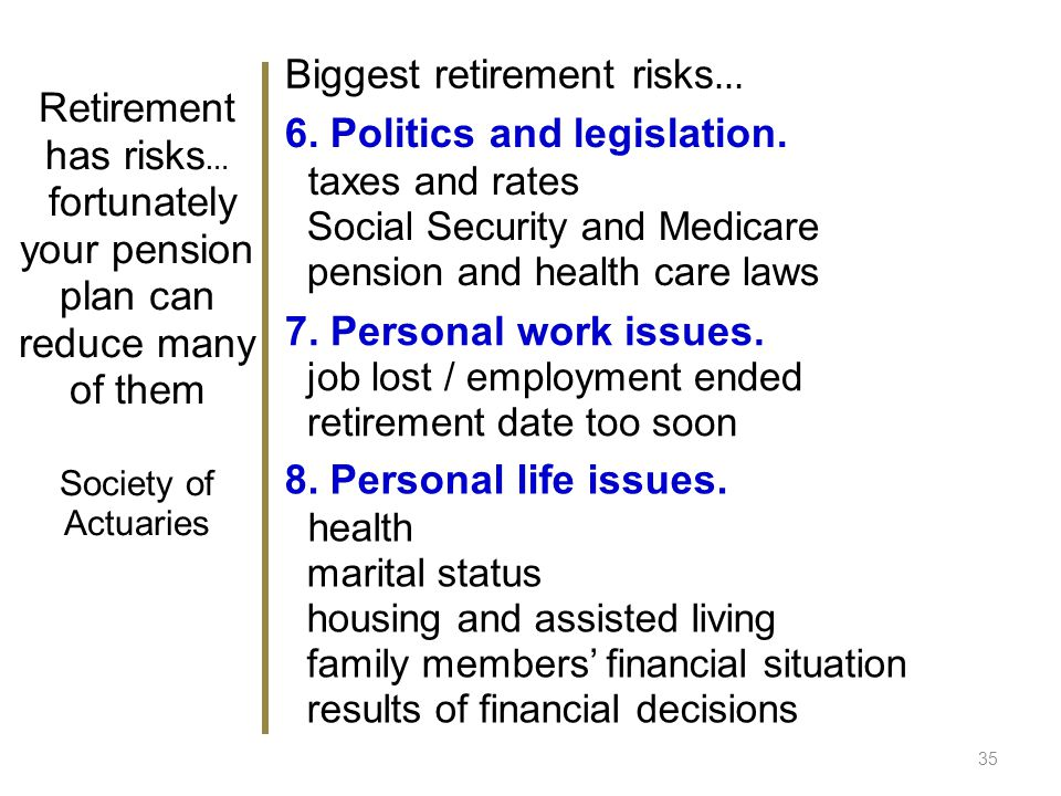 35 7. Personal work issues. job lost / employment ended retirement date too soon 8.