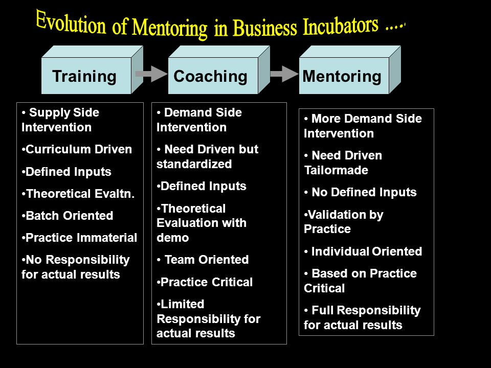 TrainingCoachingMentoring Supply Side Intervention Curriculum Driven Defined Inputs Theoretical Evaltn.