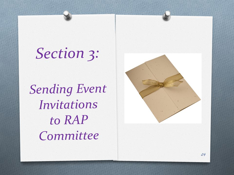 Section 3: Sending Event Invitations to RAP Committee 24
