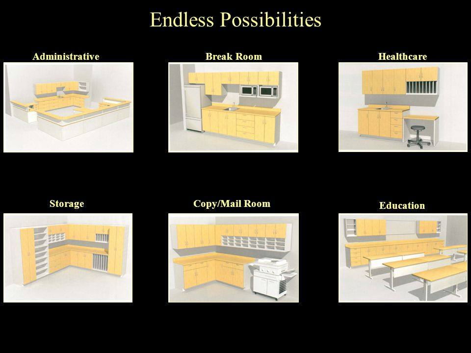 Endless Possibilities AdministrativeBreak RoomHealthcare Education Copy/Mail RoomStorage