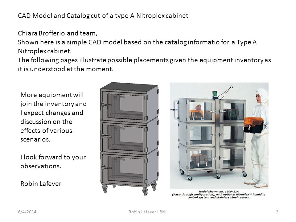CAD Model and Catalog cut of a type A Nitroplex cabinet 6/4/2014Robin Lafever LBNL2 Chiara Brofferio and team, Shown here is a simple CAD model based on the catalog informatio for a Type A Nitroplex cabinet.