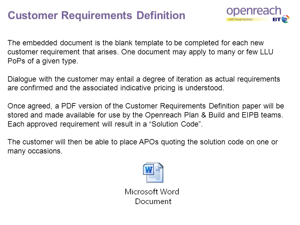 Customer Requirements Definition The embedded document is the blank template to be completed for each new customer requirement that arises.