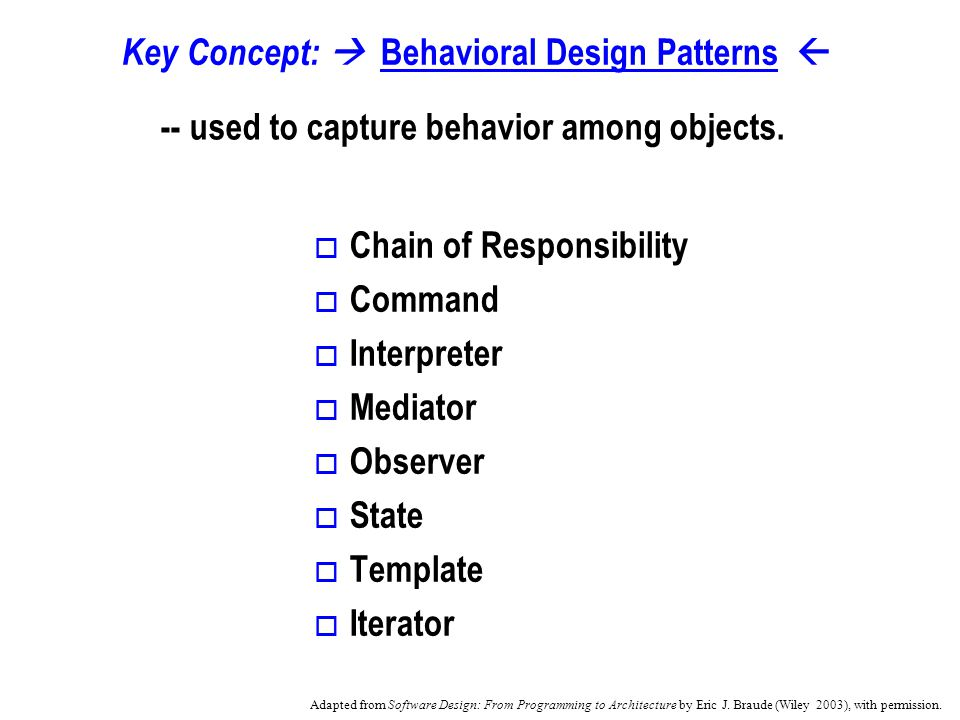 Key Concept: Behavioral Design Patterns -- used to capture behavior among objects.