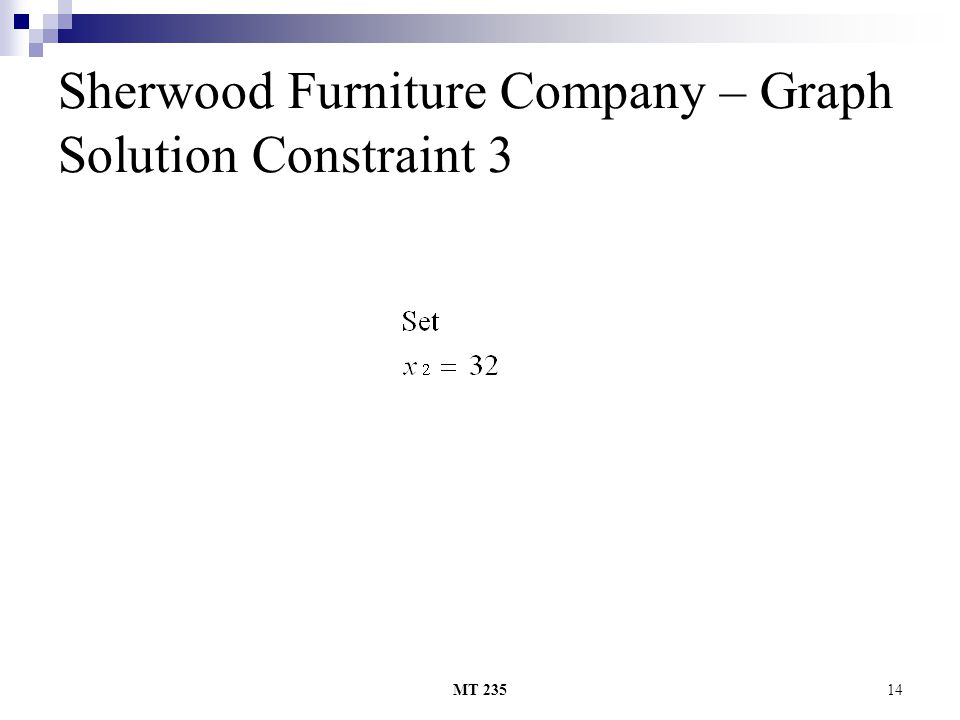 MT 23514 Sherwood Furniture Company – Graph Solution Constraint 3