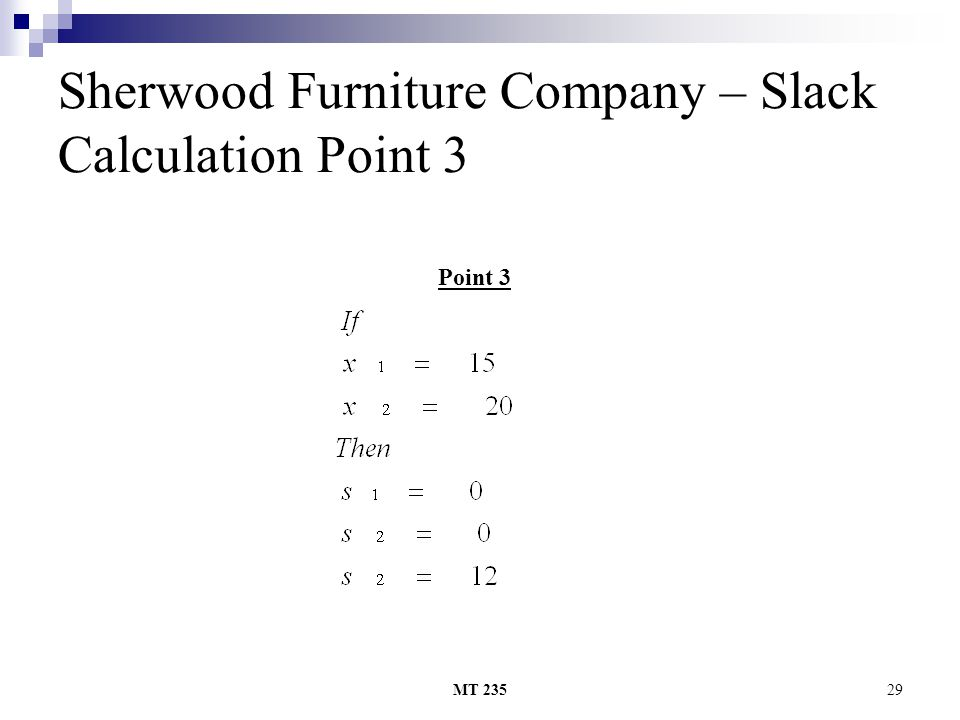 MT 23529 Sherwood Furniture Company – Slack Calculation Point 3 Point 3