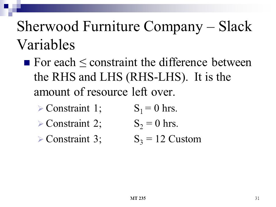MT 23531 Sherwood Furniture Company – Slack Variables For each constraint the difference between the RHS and LHS (RHS-LHS).
