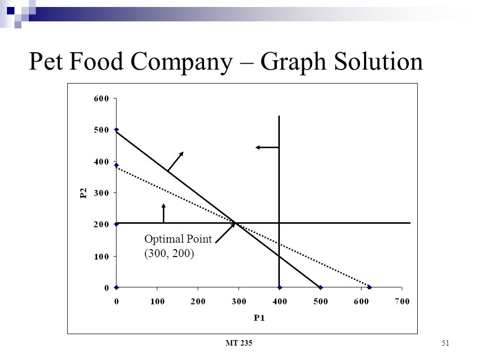 MT 23551 Pet Food Company – Graph Solution Optimal Point (300, 200)