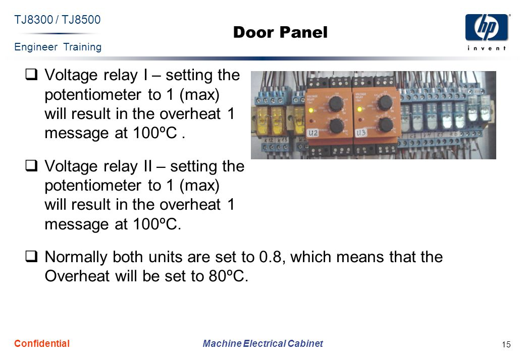 Engineer Training Machine Electrical Cabinet TJ8300 / TJ8500 Confidential 15 Door Panel Voltage relay I – setting the potentiometer to 1 (max) will result in the overheat 1 message at 100ºC.