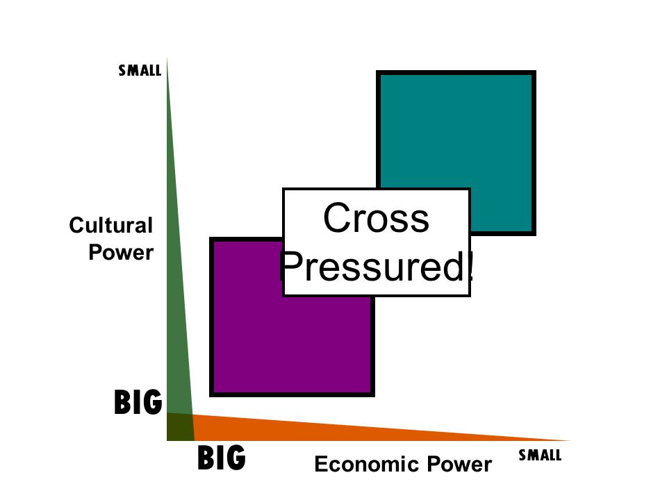 Cultural Power SMALL BIG SMALL BIG Economic Power Cross Pressured!