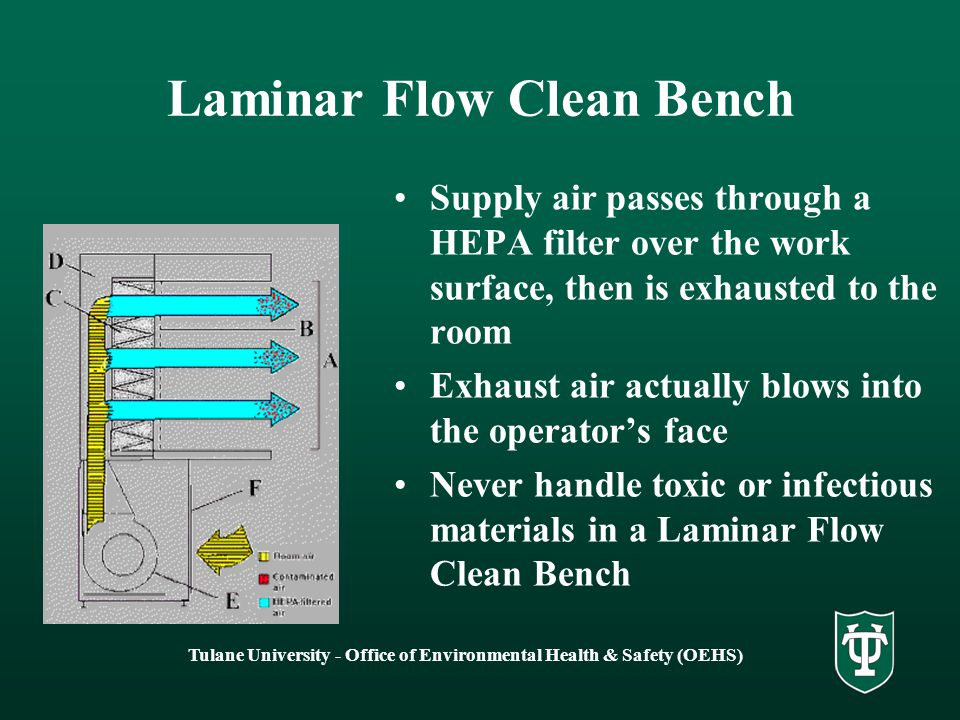 Tulane University - Office of Environmental Health & Safety (OEHS) Laminar Flow Clean Bench Laminar flow clean benches are designed specifically to protect the product from contamination They are not designed to protect the operator