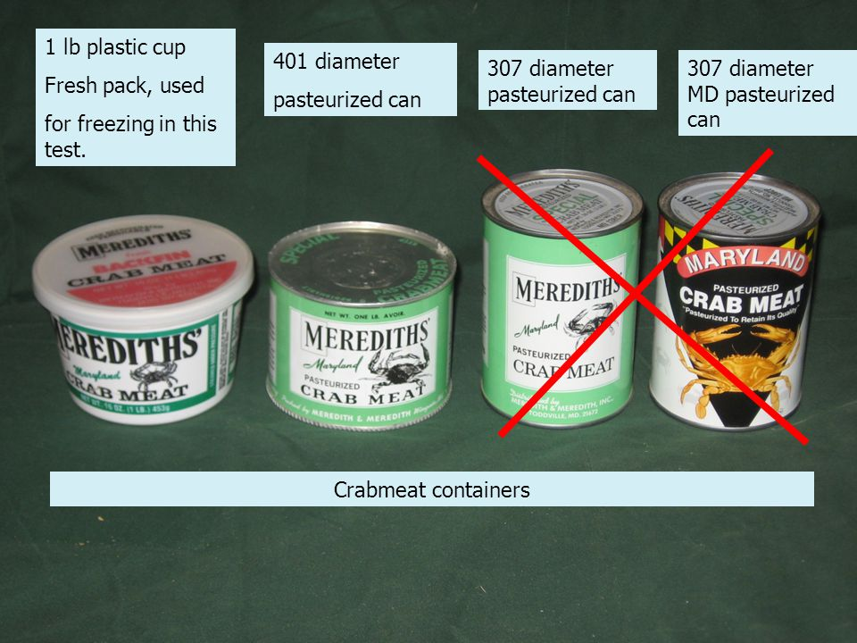Crabmeat containers 1 lb plastic cup Fresh pack, used for freezing in this test.