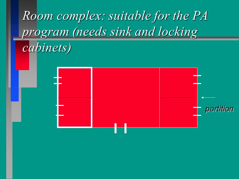 Room complex: suitable for the PA program (needs sink and locking cabinets) partition
