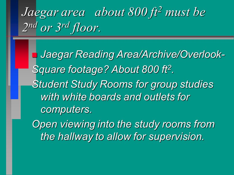 Jaegar area about 800 ft 2 must be 2 nd or 3 rd floor.
