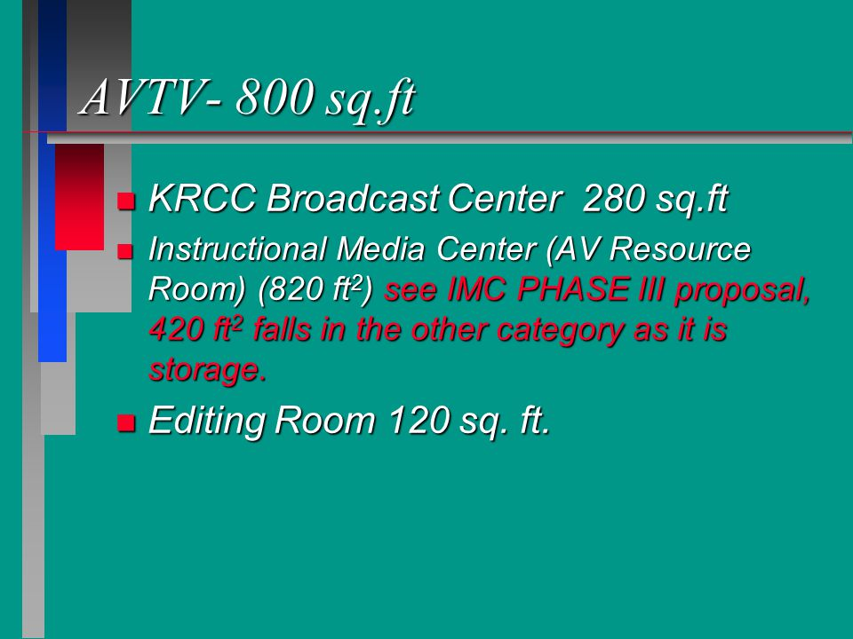 AVTV- 800 sq.ft n KRCC Broadcast Center 280 sq.ft n Instructional Media Center (AV Resource Room) (820 ft 2 ) see IMC PHASE III proposal, 420 ft 2 falls in the other category as it is storage.