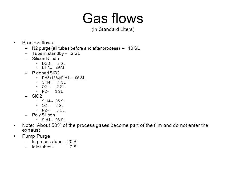 Gas flows (in Standard Liters) Process flows: –N2 purge (all tubes before and after process) -- 10 SL –Tube in standby --.2 SL –Silicon Nitride DCS--.2 SL NH3--.05SL –P doped SiO2 PH3 (15%)/SiH4--.05 SL SiH4--.1 SL O2 --.2 SL N2– 3 SL –SiO2 SiH4--.05 SL O2--.2 SL N2--.5 SL –Poly Silicon SiH4--.06 SL Note: About 50% of the process gases become part of the film and do not enter the exhaust Pump Purge –In process tube-- 20 SL –Idle tubes-- 7 SL
