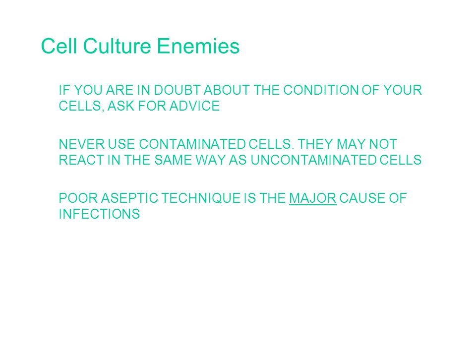 Cell Culture Enemies IF YOU ARE IN DOUBT ABOUT THE CONDITION OF YOUR CELLS, ASK FOR ADVICE NEVER USE CONTAMINATED CELLS.