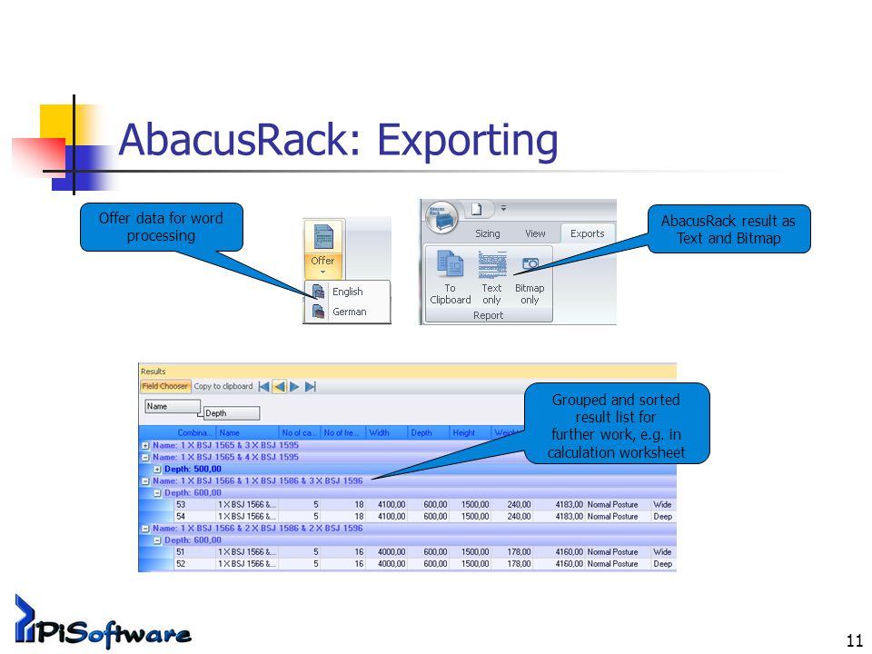 11 AbacusRack: Exporting Offer data for word processing AbacusRack result as Text and Bitmap Grouped and sorted result list for further work, e.g.