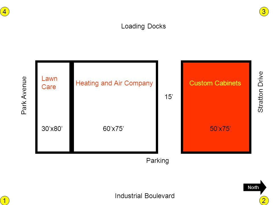 Loading Docks Industrial Boulevard Park Avenue Stratton Drive North 12 43 30x8060x7550x75 15 Parking Custom CabinetsHeating and Air Company Lawn Care
