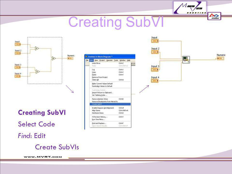 Creating SubVI Select Code Find: Edit Create SubVIs Creating SubVI