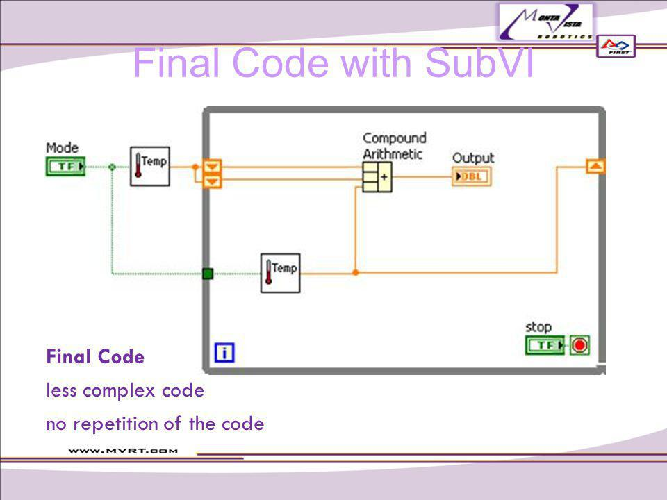 Final Code less complex code no repetition of the code Final Code with SubVI