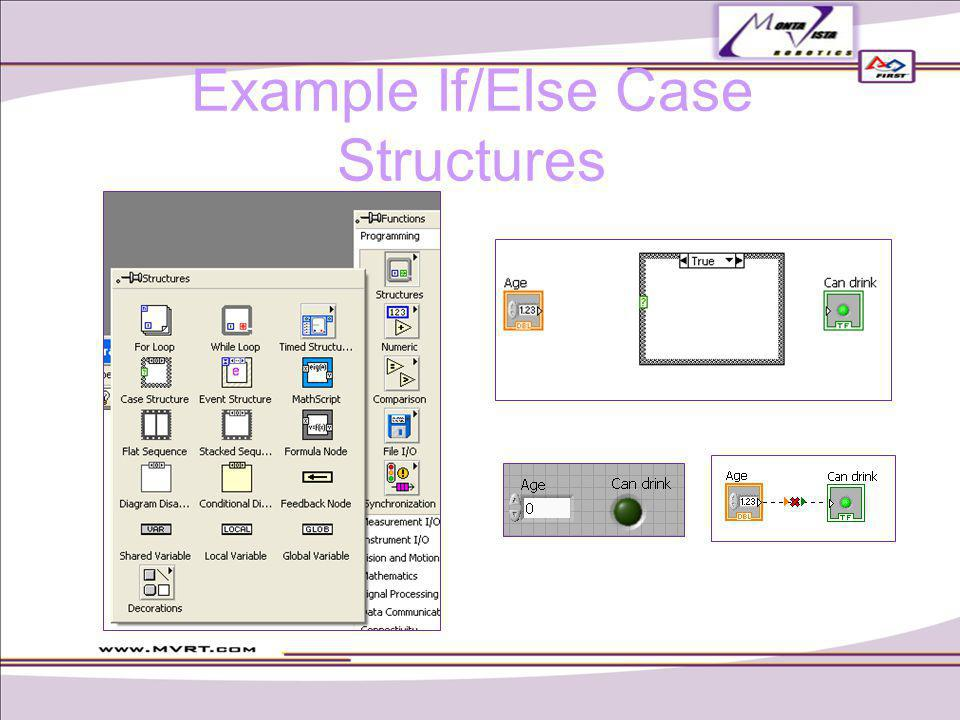 Example If/Else Case Structures