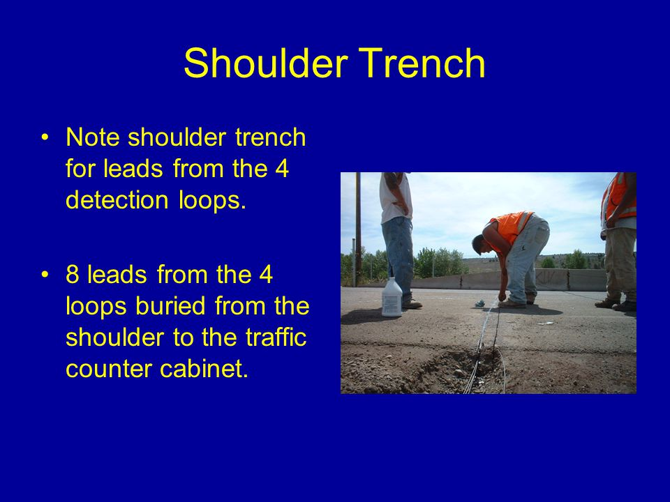 Shoulder Trench Note shoulder trench for leads from the 4 detection loops.