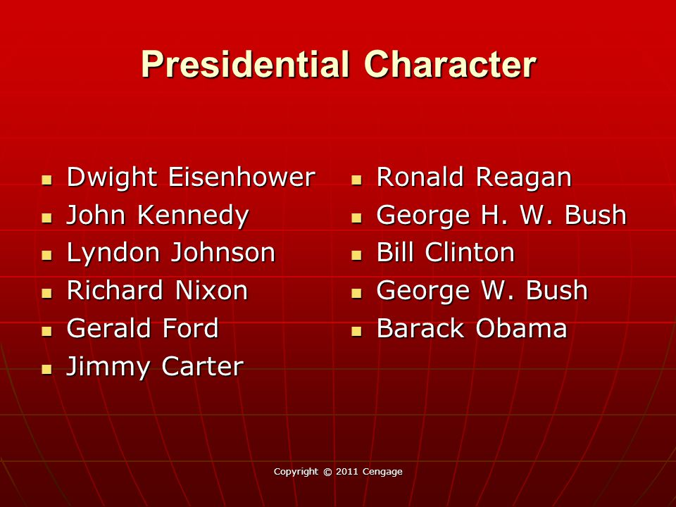 Presidential Character Dwight Eisenhower Dwight Eisenhower John Kennedy John Kennedy Lyndon Johnson Lyndon Johnson Richard Nixon Richard Nixon Gerald Ford Gerald Ford Jimmy Carter Jimmy Carter Ronald Reagan Ronald Reagan George H.