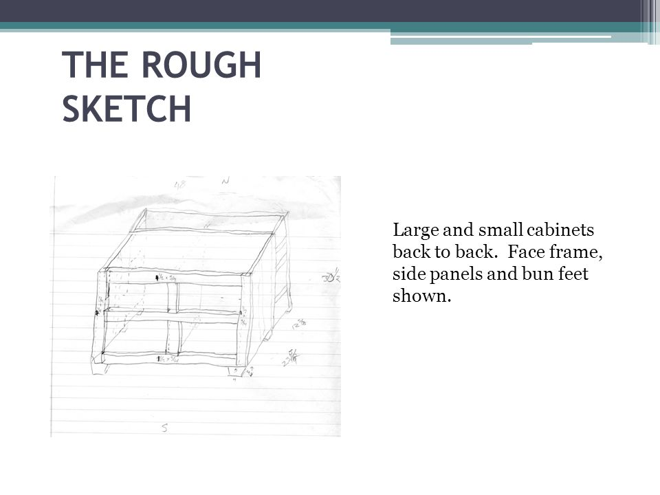THE ROUGH SKETCH Large and small cabinets back to back. Face frame, side panels and bun feet shown.